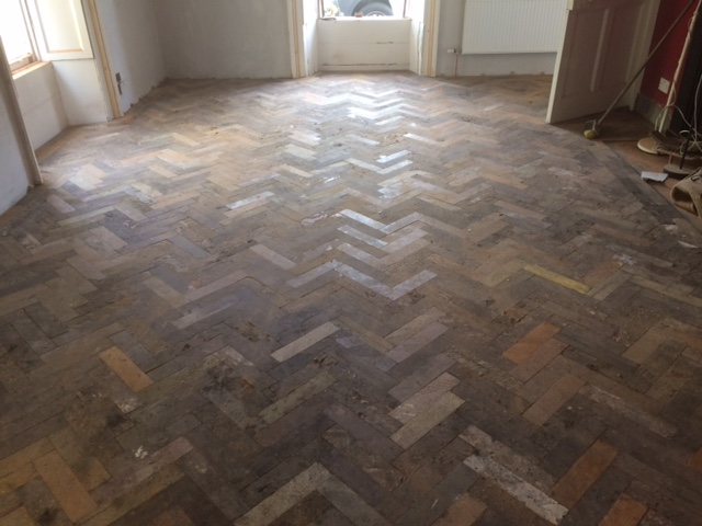 Reclaimed Mahogany Parquet, Before and After - OFlynns Flooring